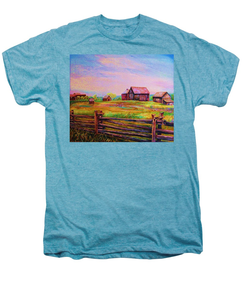 Ranches Men's Premium T-Shirt featuring the painting The Log Fence by Carole Spandau