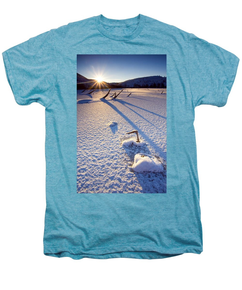 Sunrise Men's Premium T-Shirt featuring the photograph The Long Shadows Of Winter by Mike Dawson