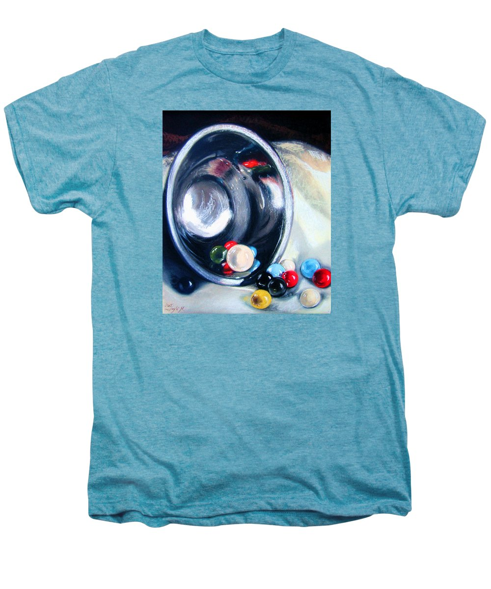 Marbles Men's Premium T-Shirt featuring the pastel The Marble Bowl by Leyla Munteanu