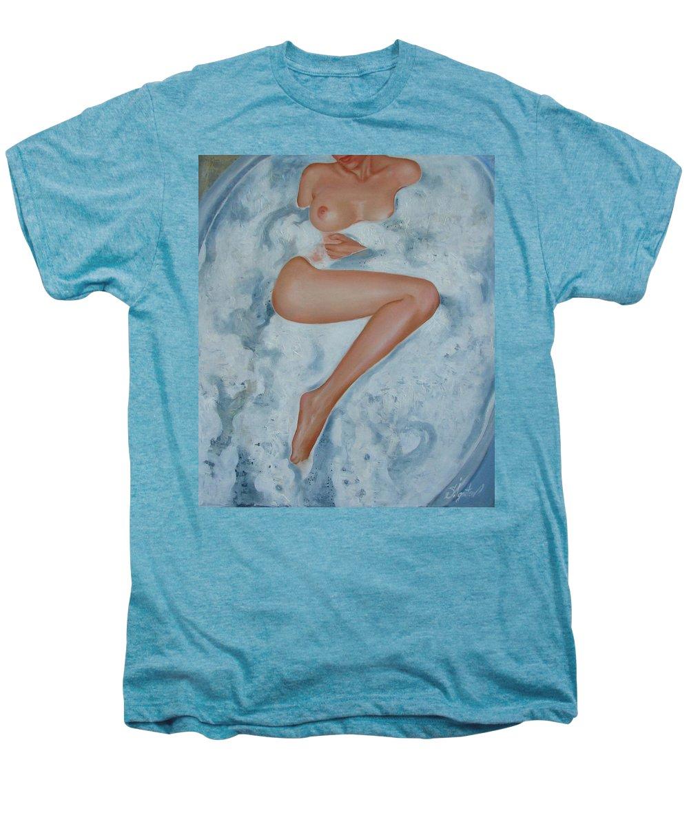 Art Men's Premium T-Shirt featuring the painting The Milk Bath by Sergey Ignatenko