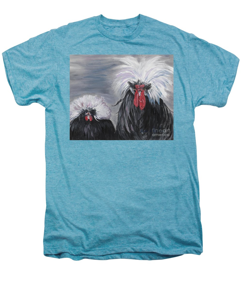 Odd Chickens With Wild Hair Men's Premium T-Shirt featuring the painting The Odd Couple by Nadine Rippelmeyer