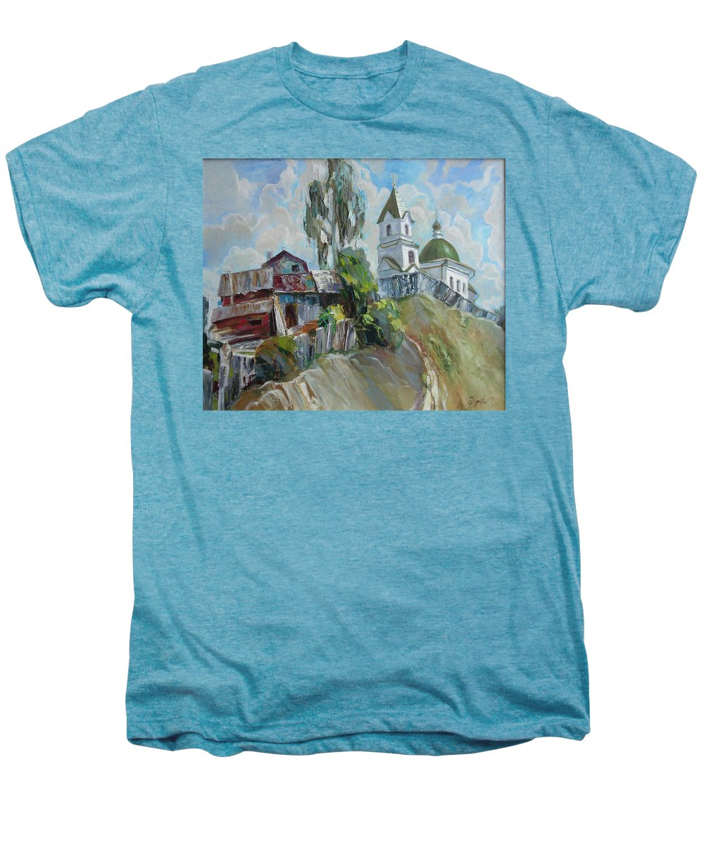 Oil Men's Premium T-Shirt featuring the painting The Old And New by Sergey Ignatenko
