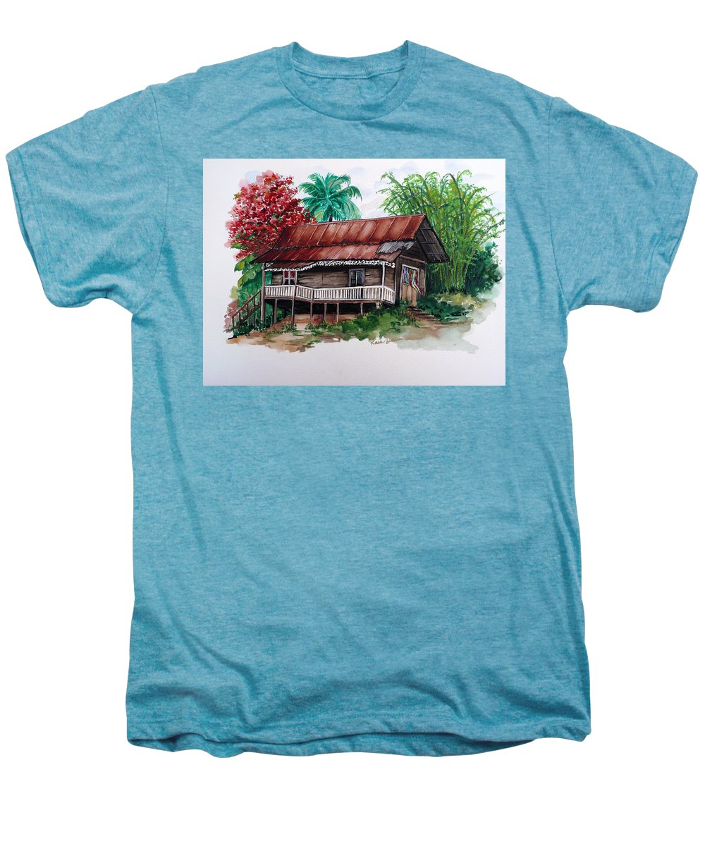 Tropical Painting Poincianna Painting Caribbean Painting Old House Painting Cocoa House Painting Trinidad And Tobago Painting  Tropical Painting Flamboyant Painting Poinciana Red Greeting Card Painting Men's Premium T-Shirt featuring the painting The Old Cocoa House by Karin Dawn Kelshall- Best
