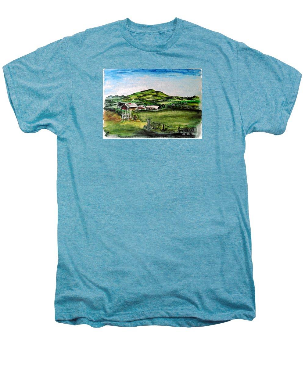 Landscape Men's Premium T-Shirt featuring the painting The Old Farm by Alan Hogan