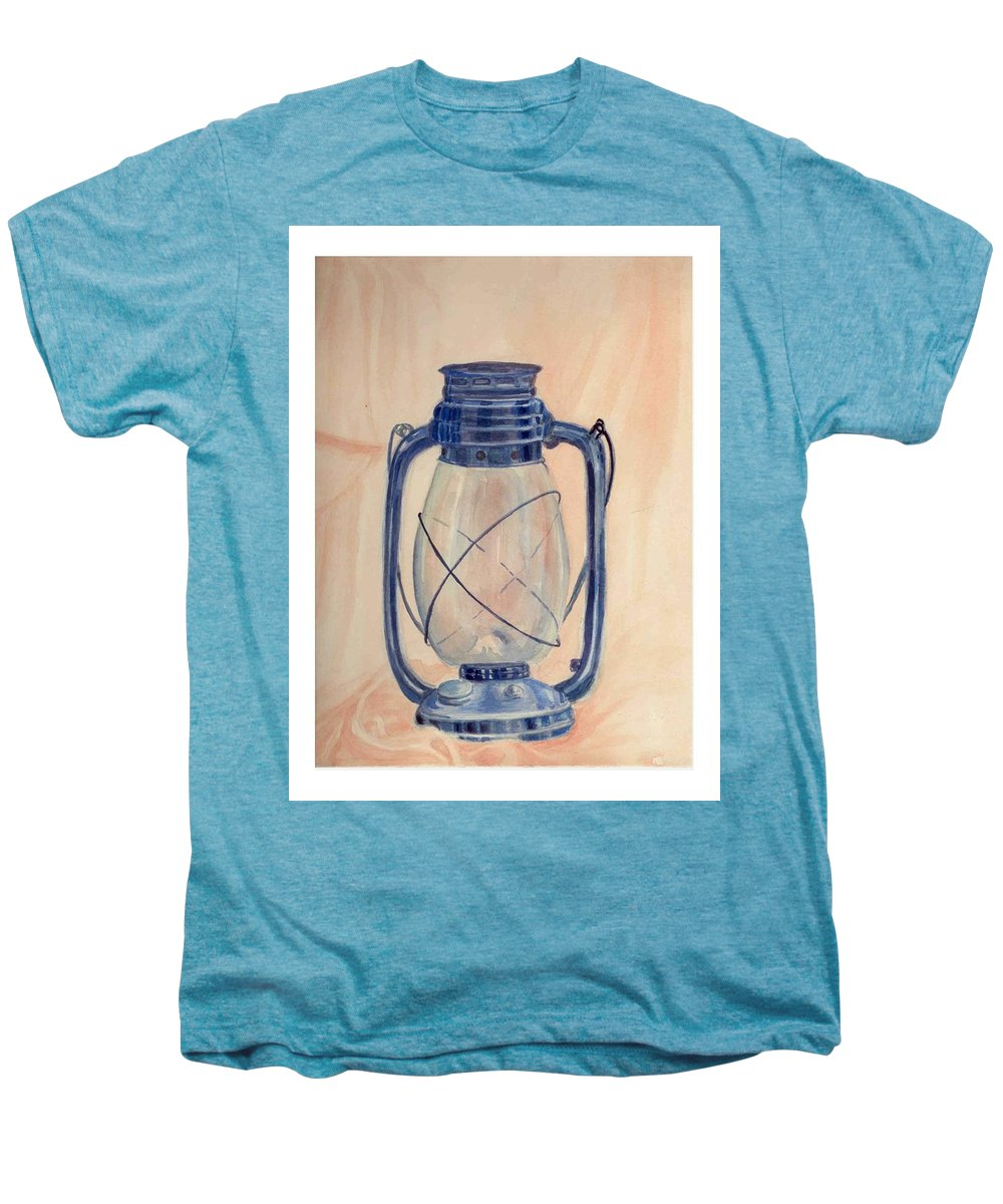 Lantern Men's Premium T-Shirt featuring the painting The Old Lantern by Asha Sudhaker Shenoy