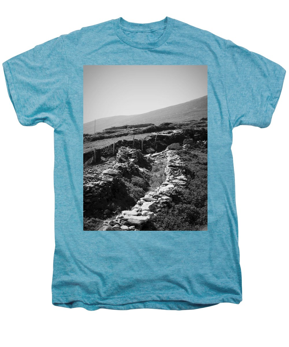 Irish Men's Premium T-Shirt featuring the photograph The Path To The Beehive Huts In Fahan Ireland by Teresa Mucha