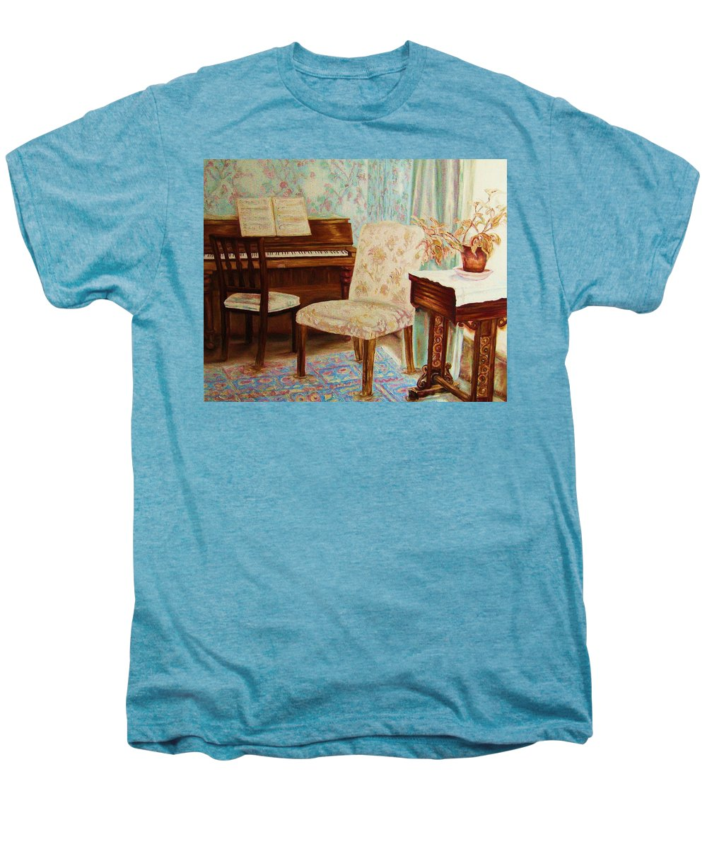 Iimpressionism Men's Premium T-Shirt featuring the painting The Piano Room by Carole Spandau