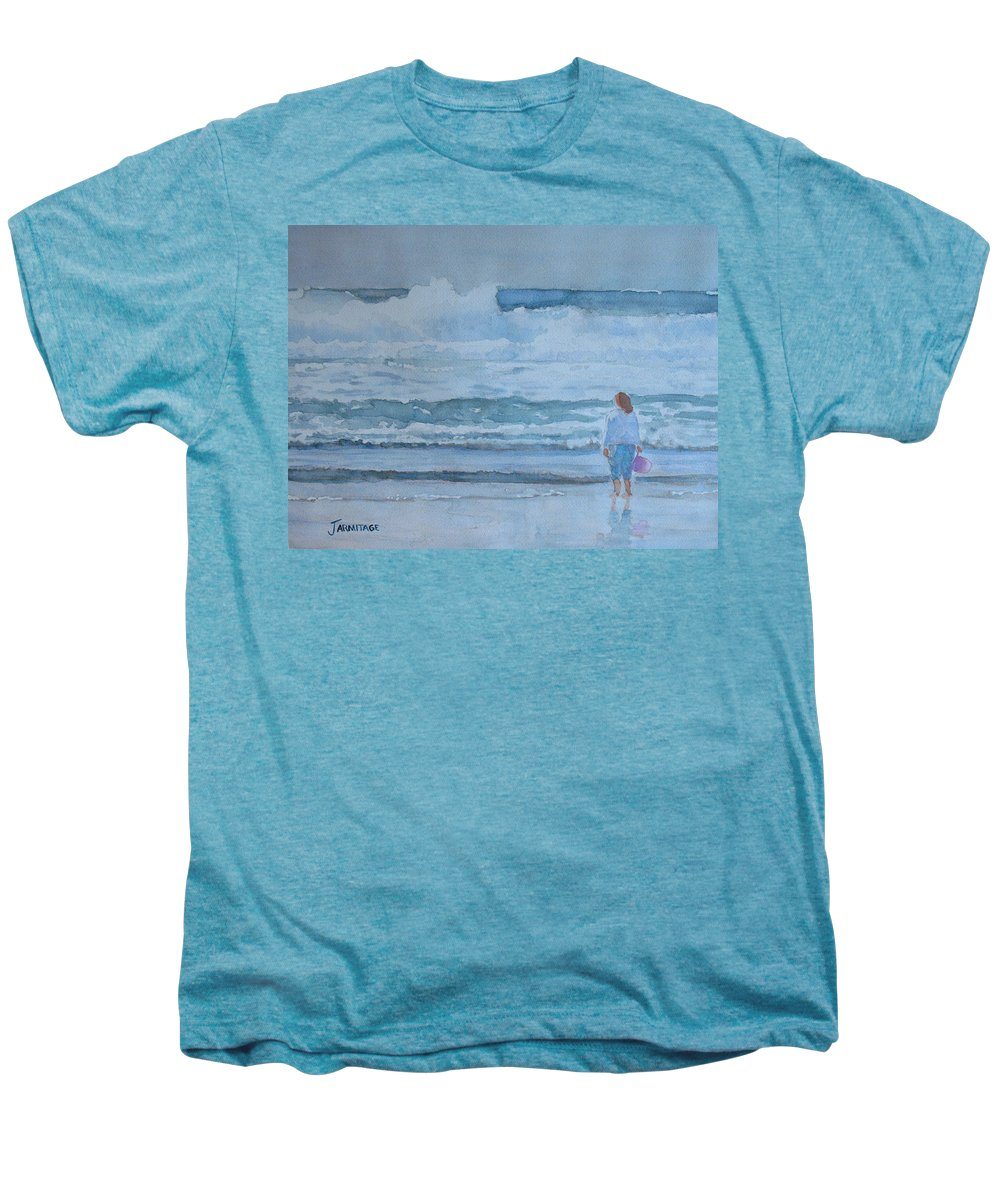 Bucket Men's Premium T-Shirt featuring the painting The Pink Bucket by Jenny Armitage