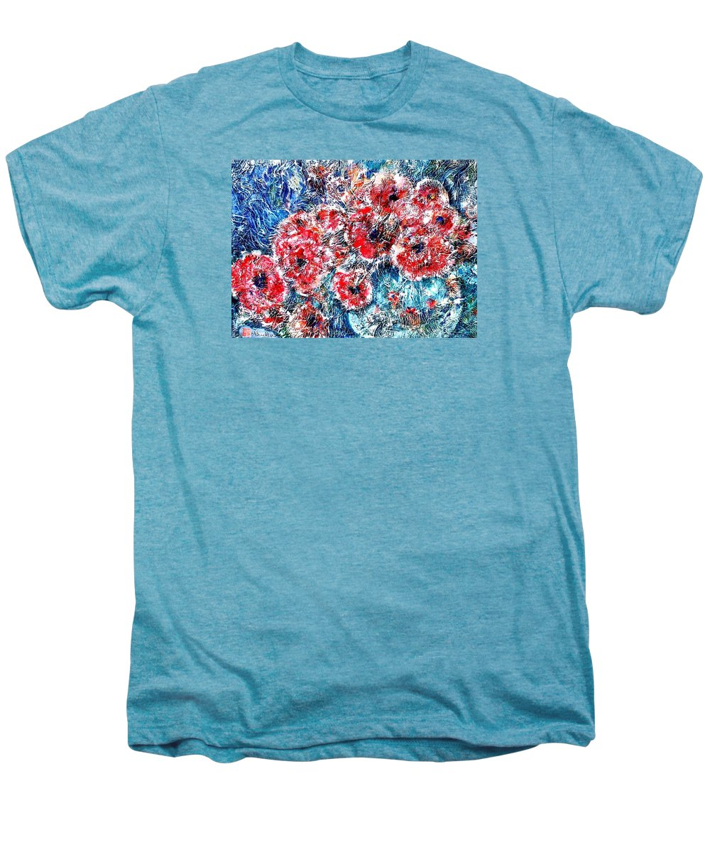 Poppies Men's Premium T-Shirt featuring the painting The Poppies by Norma Boeckler