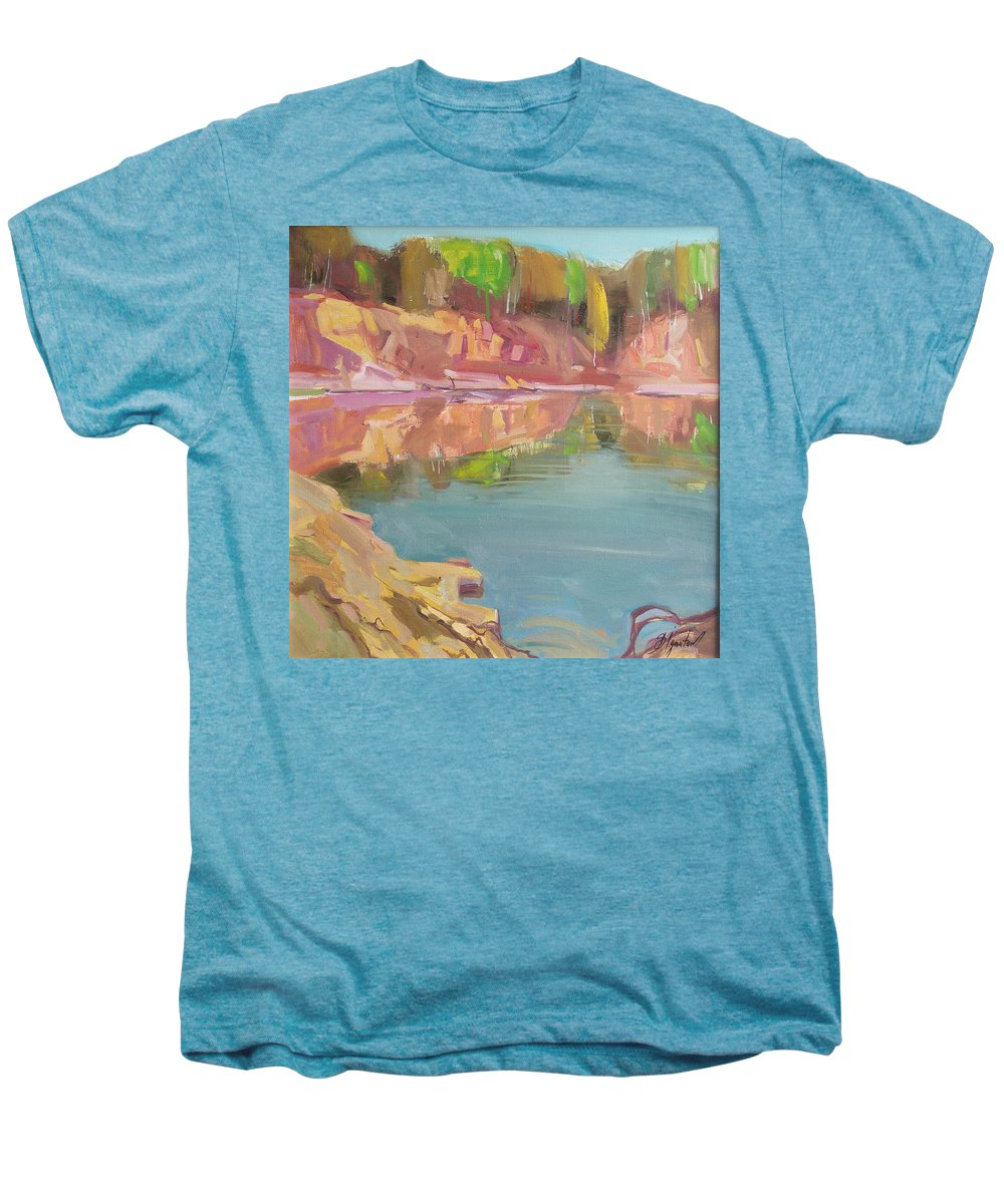Oil Men's Premium T-Shirt featuring the painting The Quarry by Sergey Ignatenko