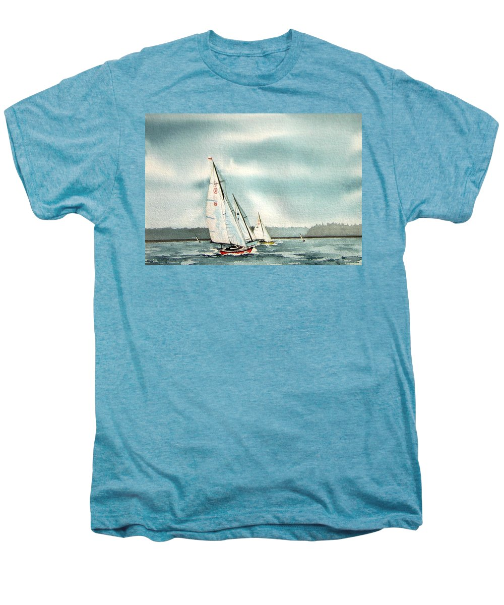 Sailing Men's Premium T-Shirt featuring the painting The Race by Gale Cochran-Smith