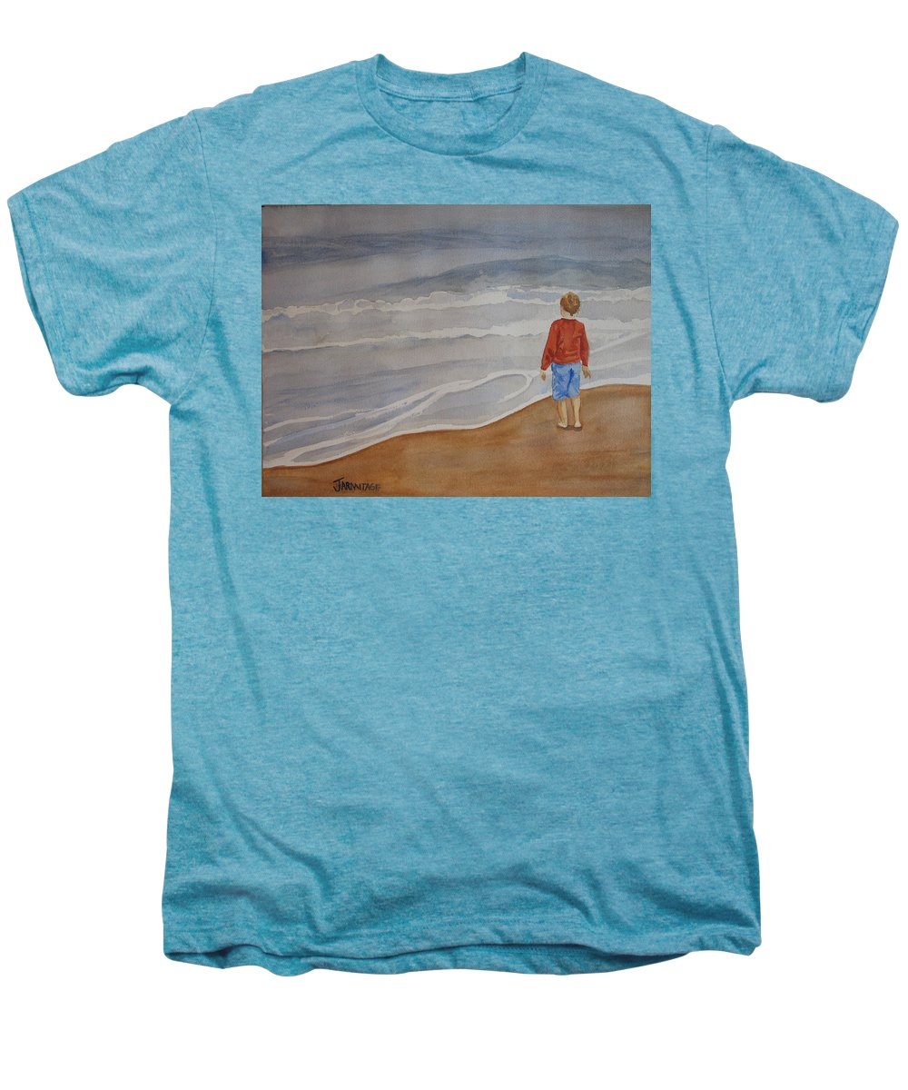 Boy Men's Premium T-Shirt featuring the painting The Red Shirt by Jenny Armitage