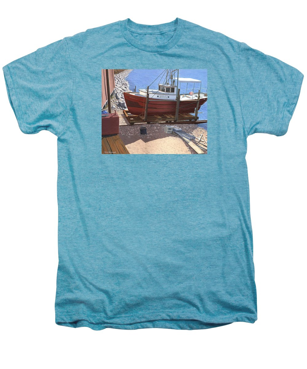 Fishing Boat Men's Premium T-Shirt featuring the painting The Red Troller by Gary Giacomelli