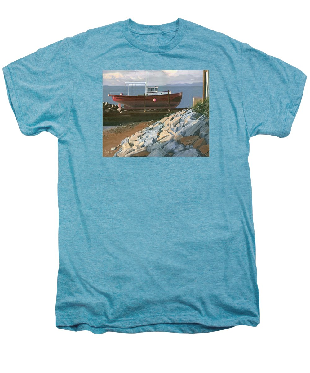 Ship Men's Premium T-Shirt featuring the painting The Red Troller Revisited by Gary Giacomelli