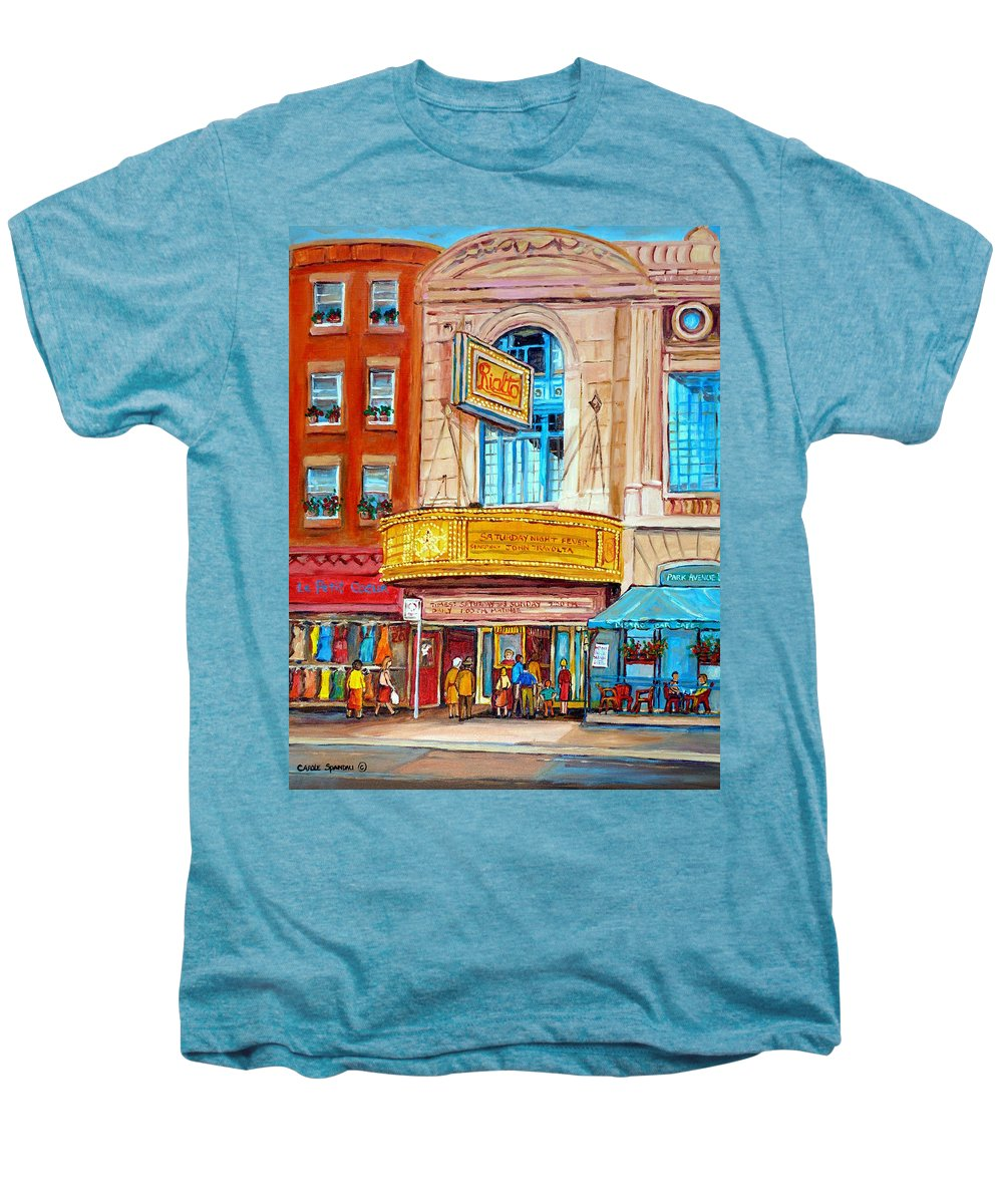 Montreal Men's Premium T-Shirt featuring the painting The Rialto Theatre Montreal by Carole Spandau