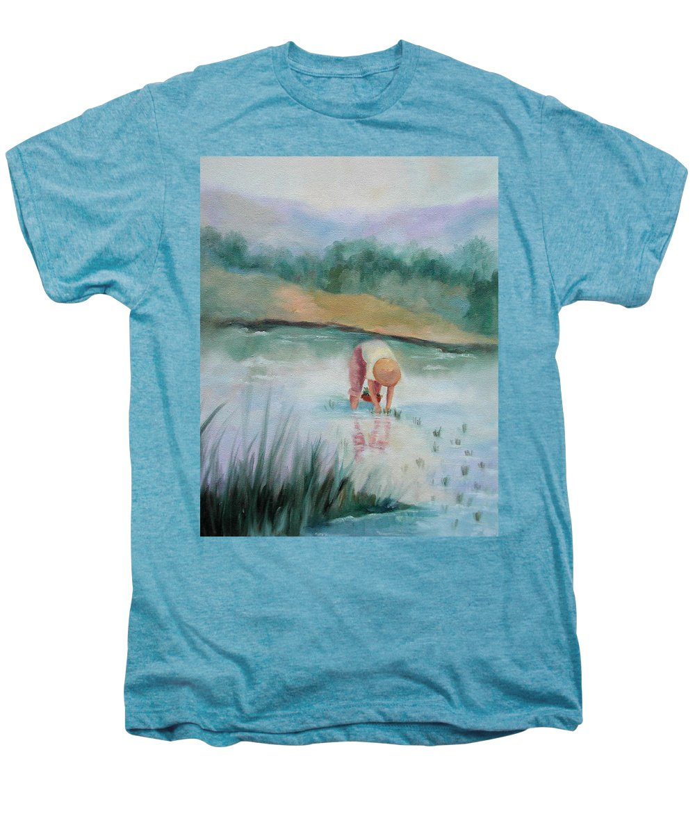 Figurative Men's Premium T-Shirt featuring the painting The Rice Planter by Ginger Concepcion