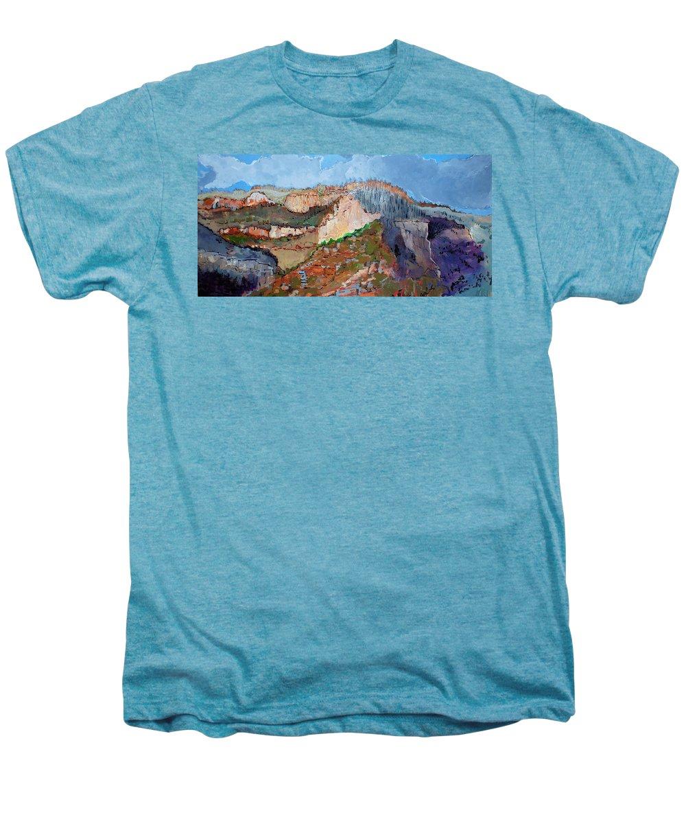 Mountains Men's Premium T-Shirt featuring the painting The Rockies by Kurt Hausmann