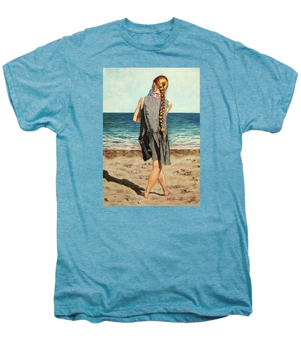 Sea Men's Premium T-Shirt featuring the painting The Secret Beauty - La Belleza Secreta by Rezzan Erguvan-Onal