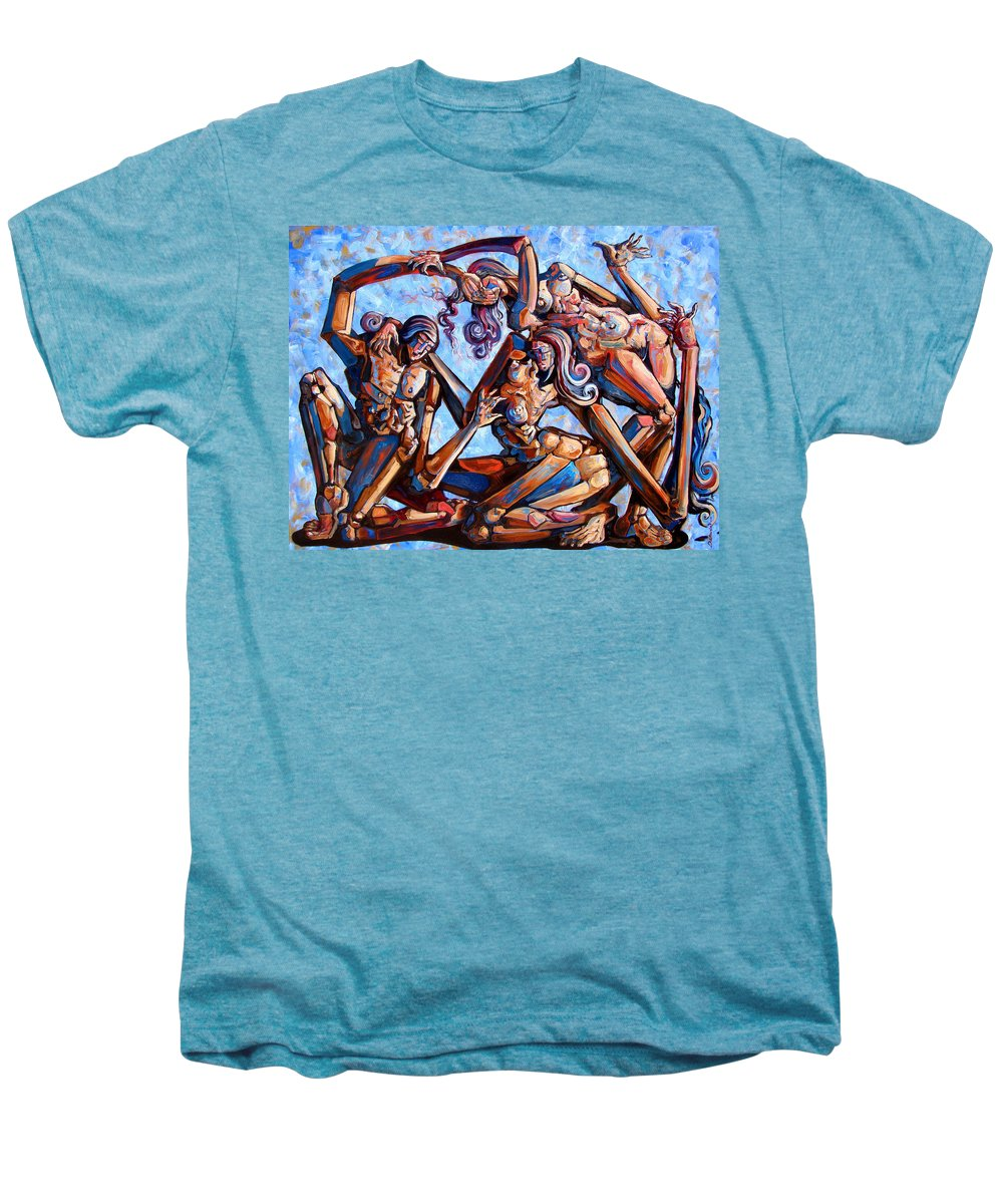 Surrealism Men's Premium T-Shirt featuring the painting The Seduction Of The Muses by Darwin Leon
