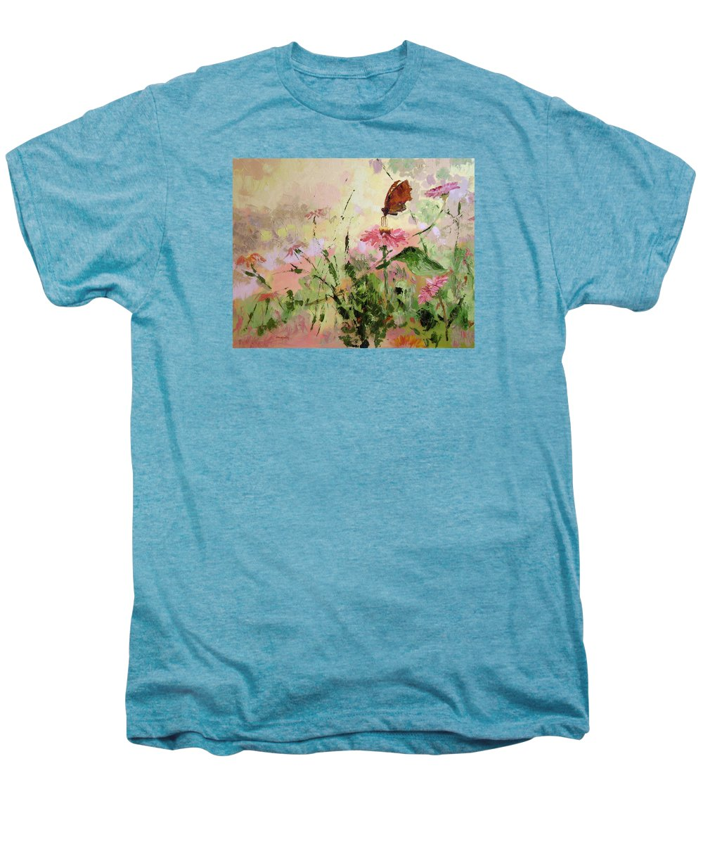Butterflies Men's Premium T-Shirt featuring the painting The Seeker by Ginger Concepcion