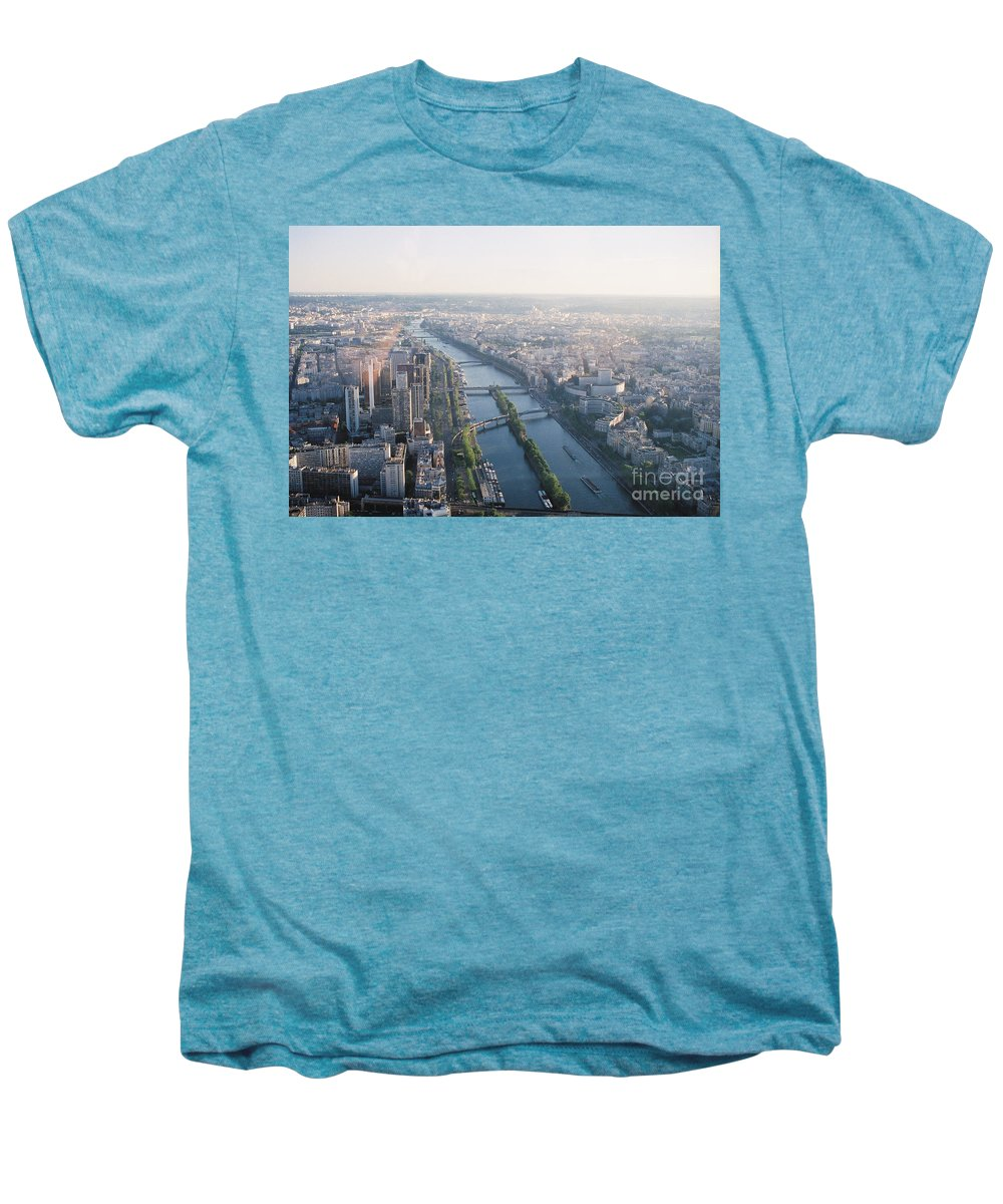 City Men's Premium T-Shirt featuring the photograph The Seine River In Paris by Nadine Rippelmeyer