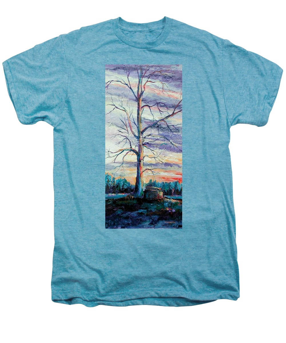 Lone Tree Men's Premium T-Shirt featuring the painting The Sentinel by Ginger Concepcion