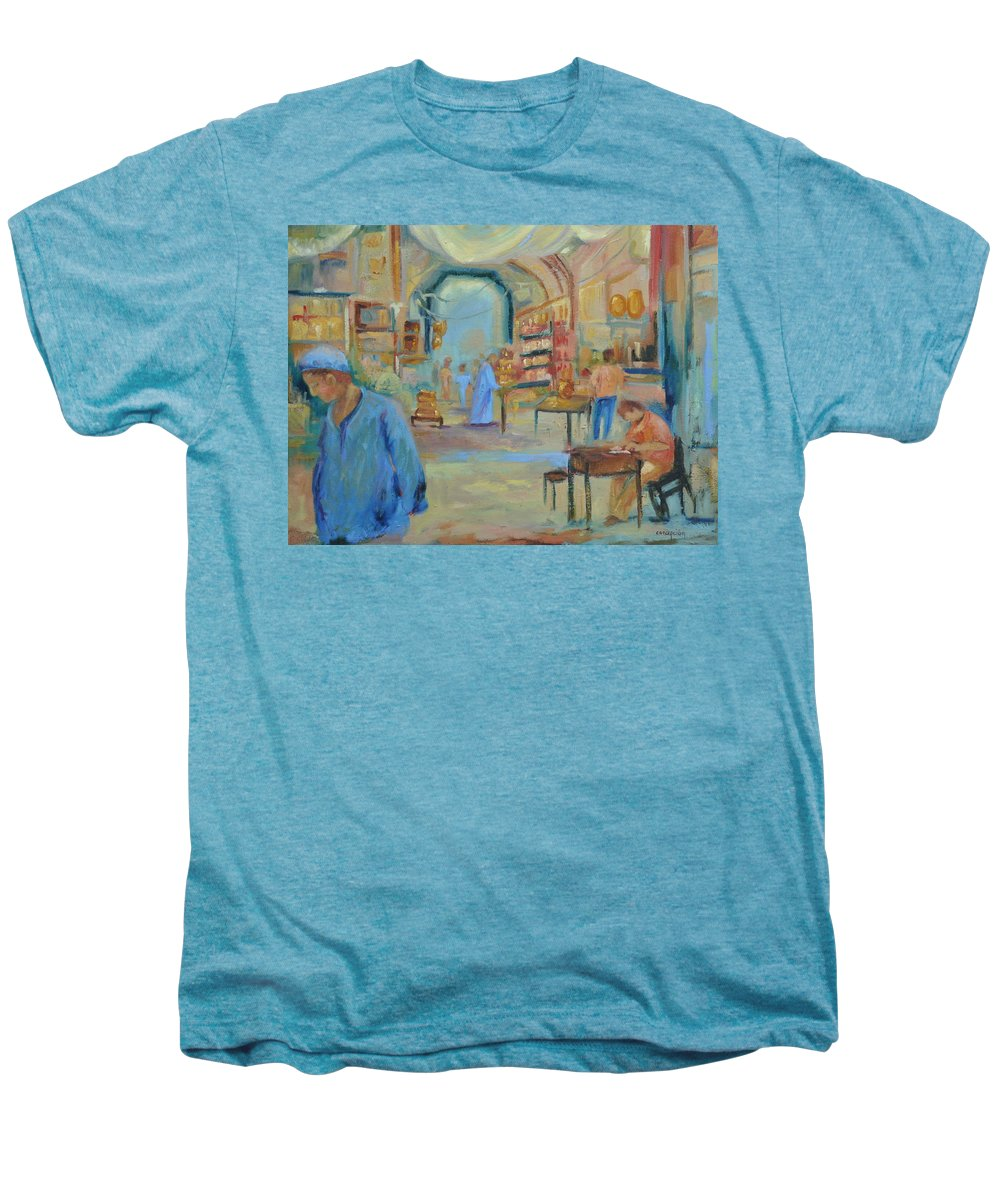 Figurative Men's Premium T-Shirt featuring the painting The Souk by Ginger Concepcion
