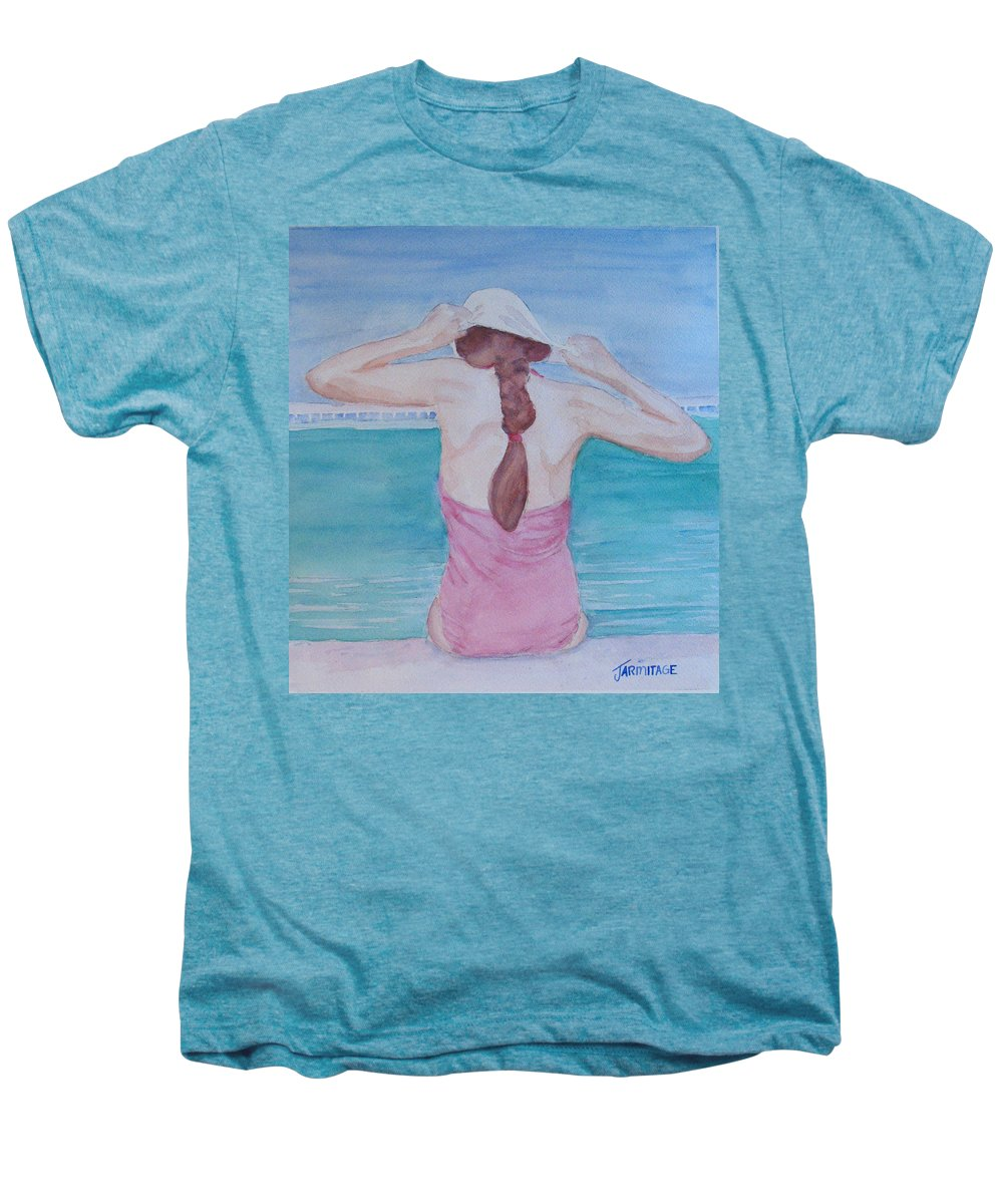 Girl Men's Premium T-Shirt featuring the painting The Swim Cap by Jenny Armitage