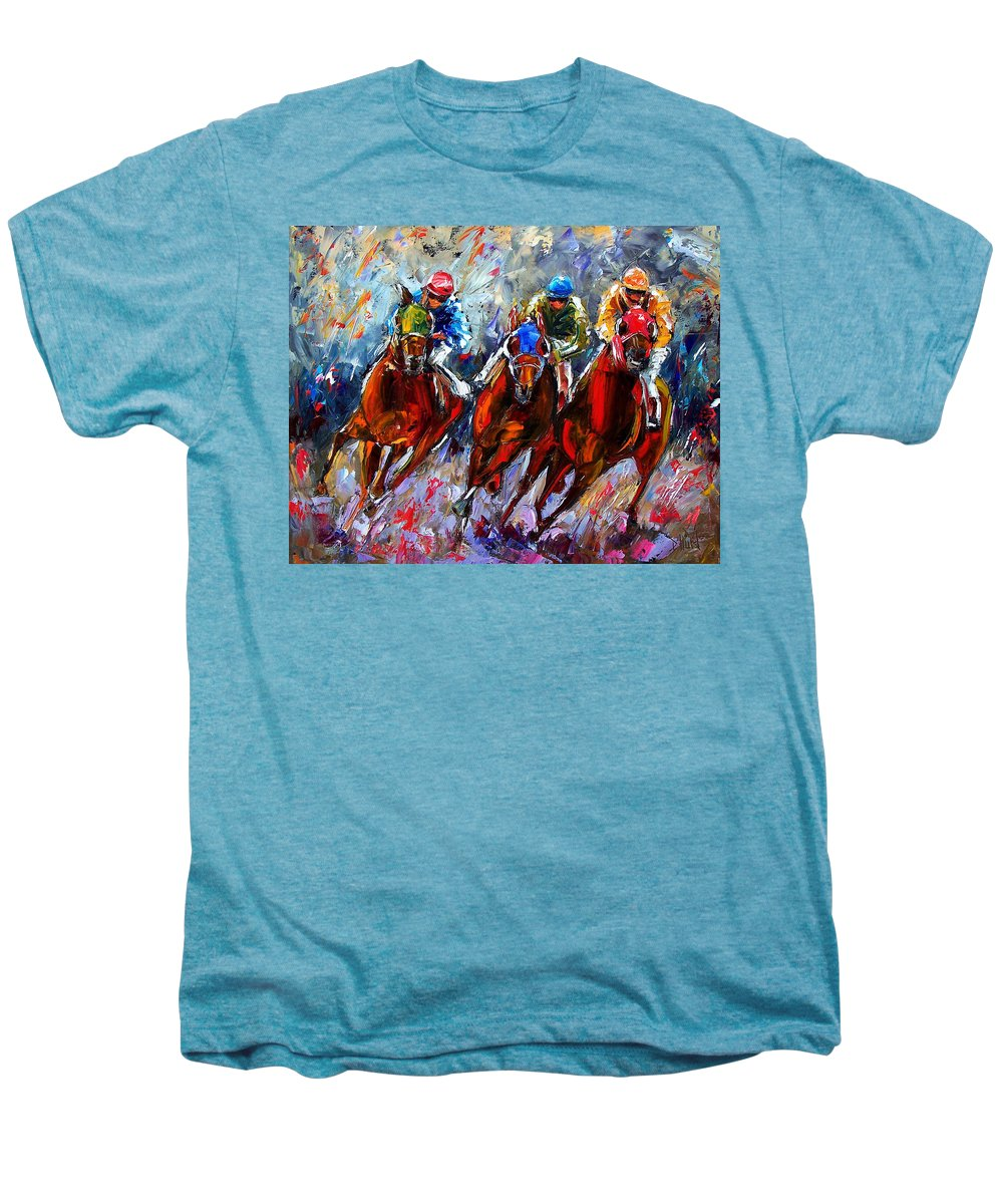 Horses Men's Premium T-Shirt featuring the painting The Turn 2 by Debra Hurd