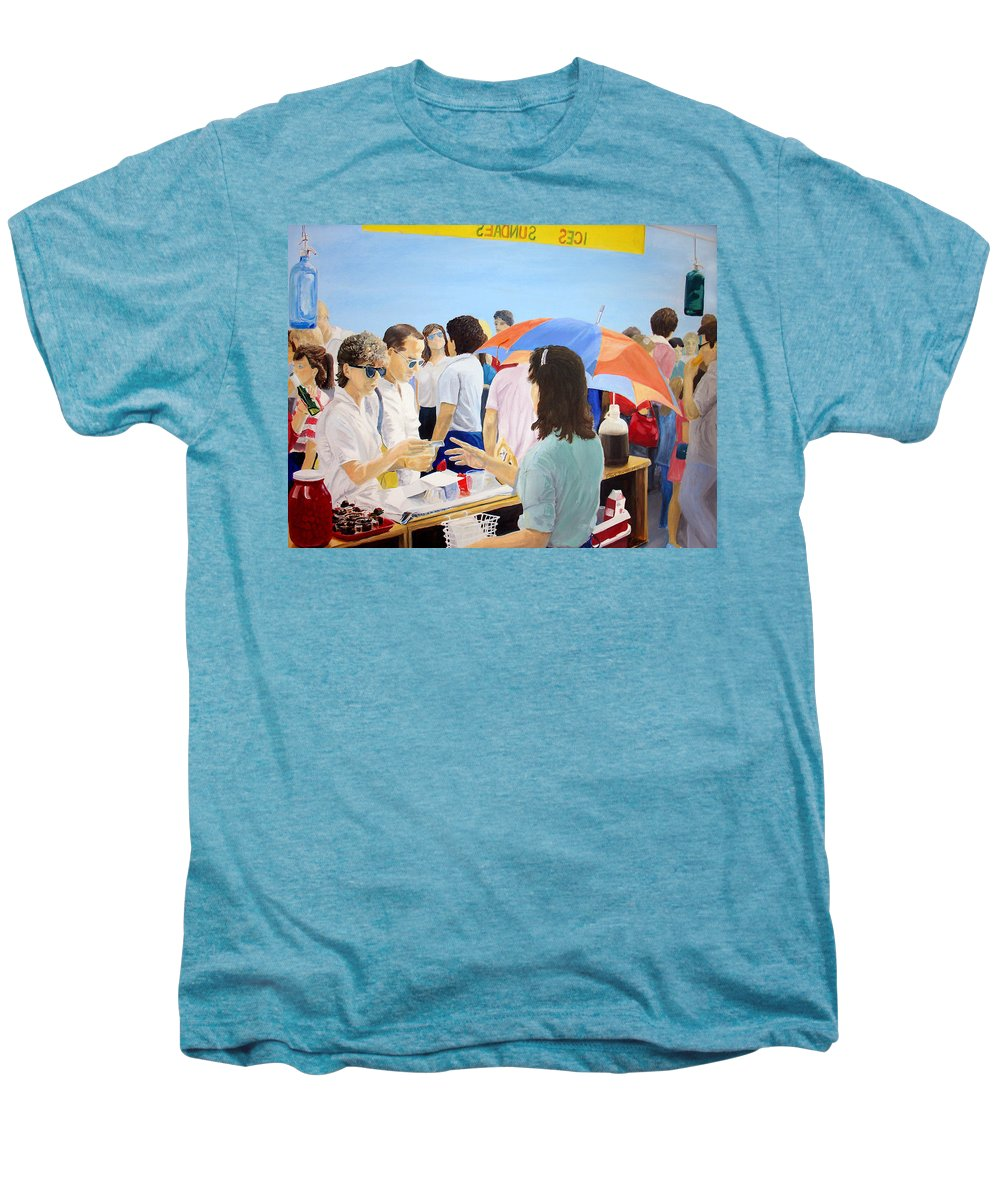 People Men's Premium T-Shirt featuring the painting The Vendor by Steve Karol