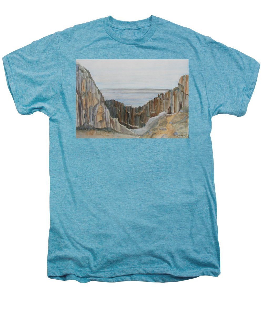Ocean Men's Premium T-Shirt featuring the painting The Whale Watchers At Elephant Rock by Jenny Armitage