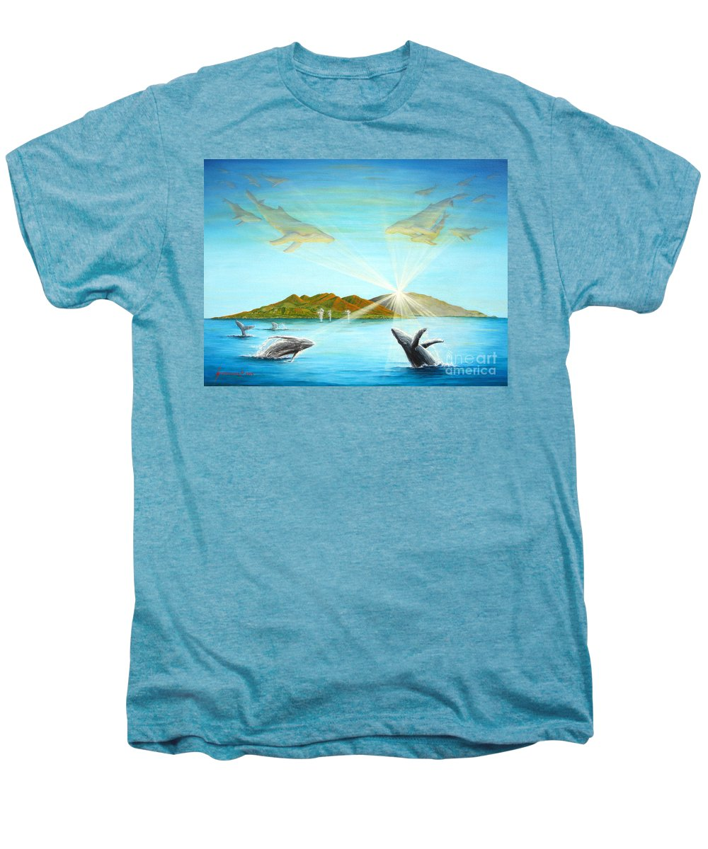Whales Men's Premium T-Shirt featuring the painting The Whales Of Maui by Jerome Stumphauzer