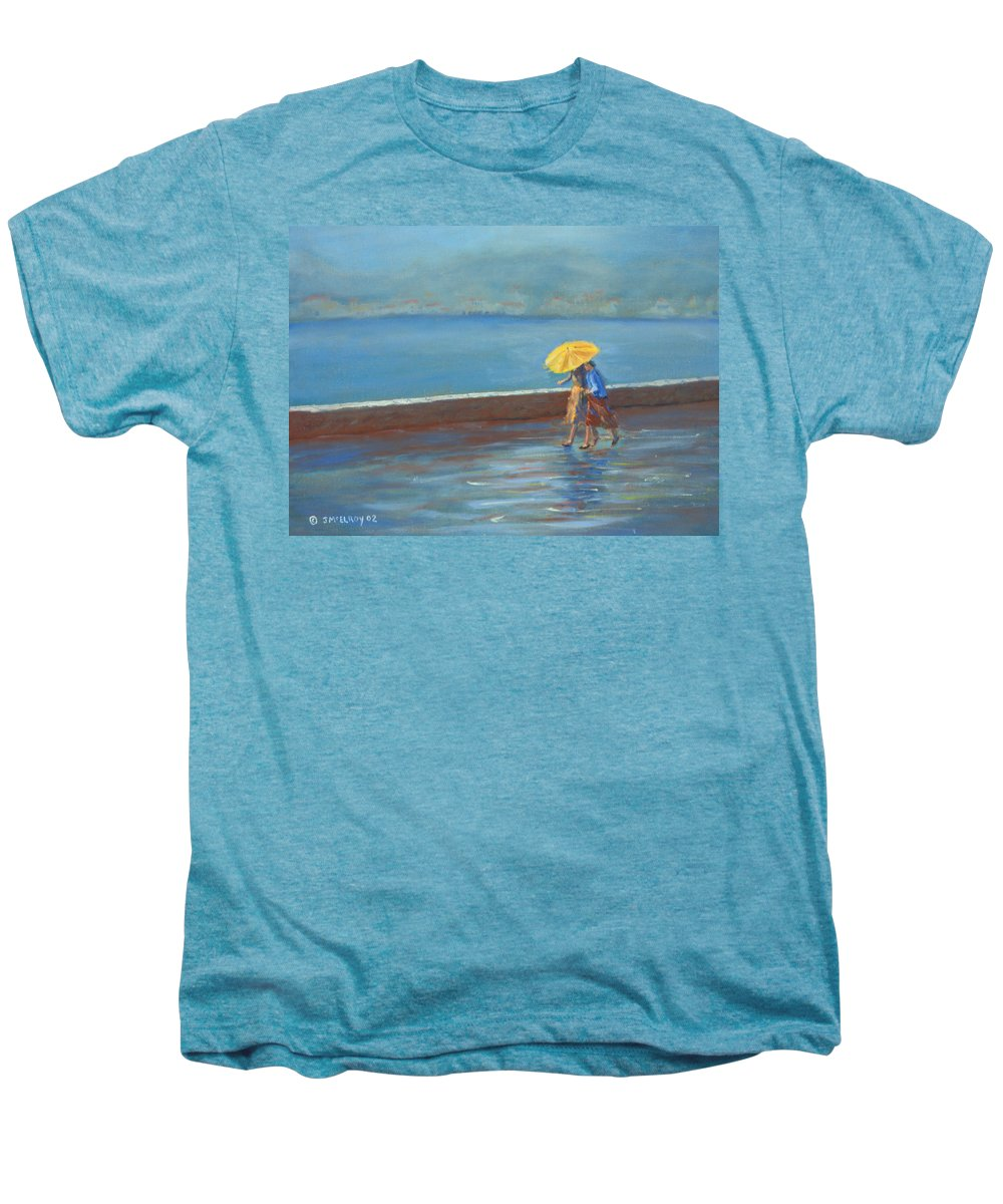 Rain Men's Premium T-Shirt featuring the painting The Yellow Umbrella by Jerry McElroy