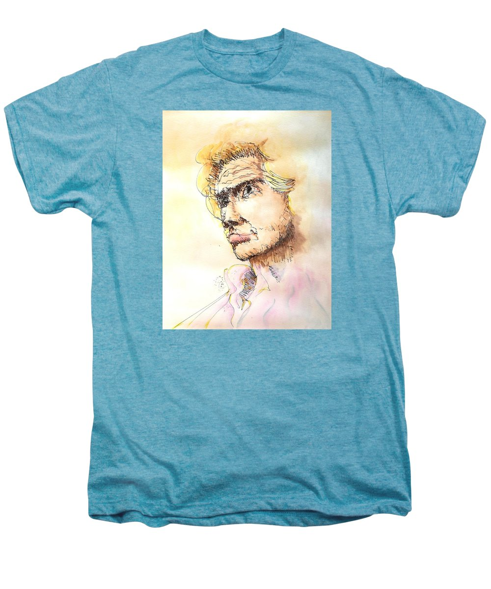 Man Men's Premium T-Shirt featuring the painting The Young Prince by Dave Martsolf