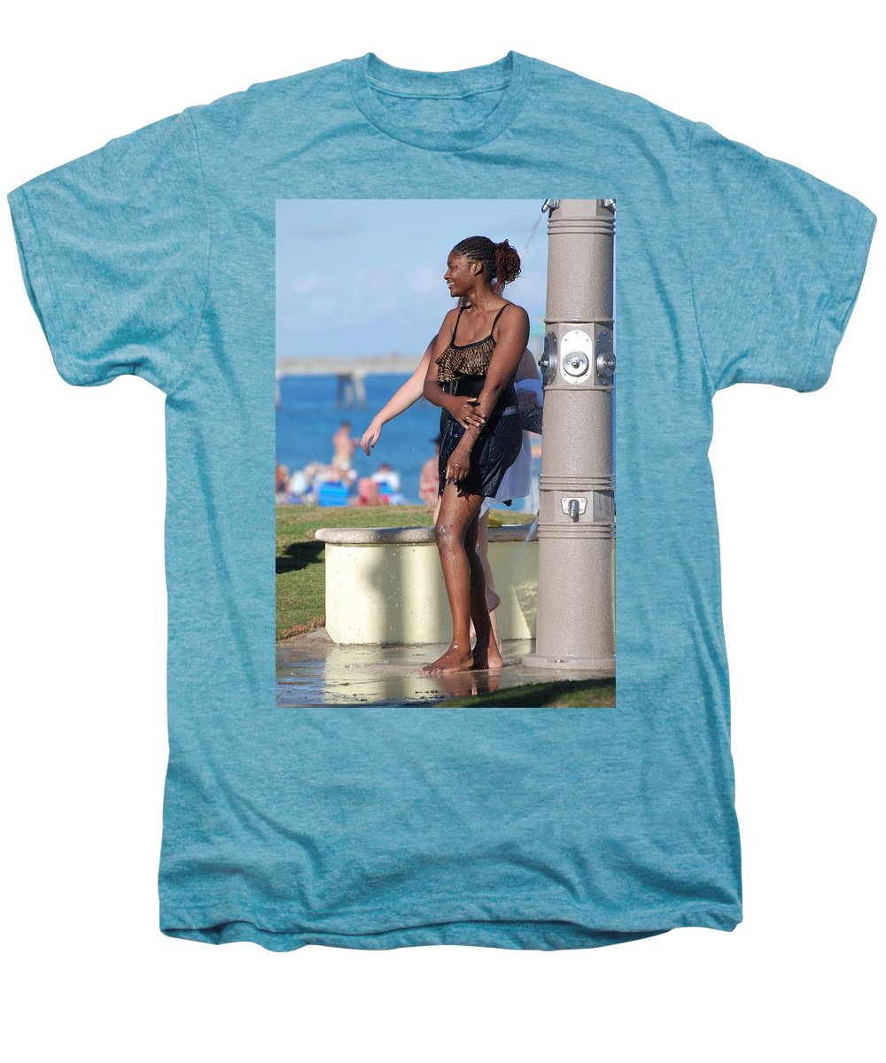Bathing Suit Men's Premium T-Shirt featuring the photograph Three Arms At The Shower by Rob Hans