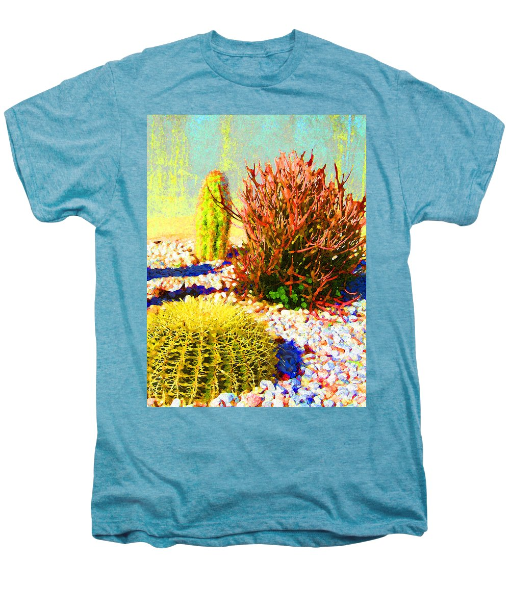 Landscape Men's Premium T-Shirt featuring the painting Three Cacti by Amy Vangsgard