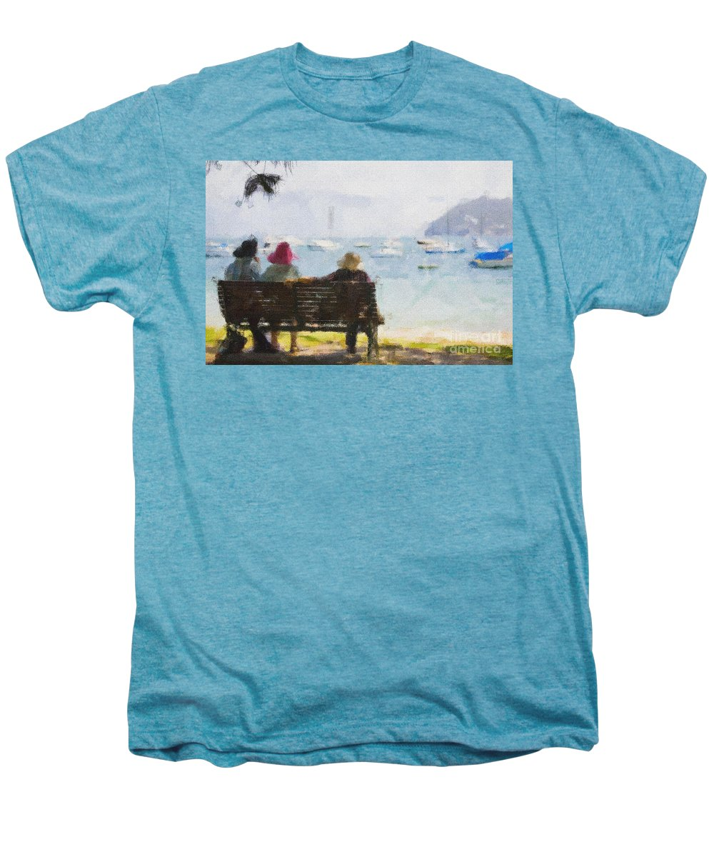 Impressionism Impressionist Water Boats Three Ladies Seat Men's Premium T-Shirt featuring the photograph Three Ladies by Sheila Smart Fine Art Photography