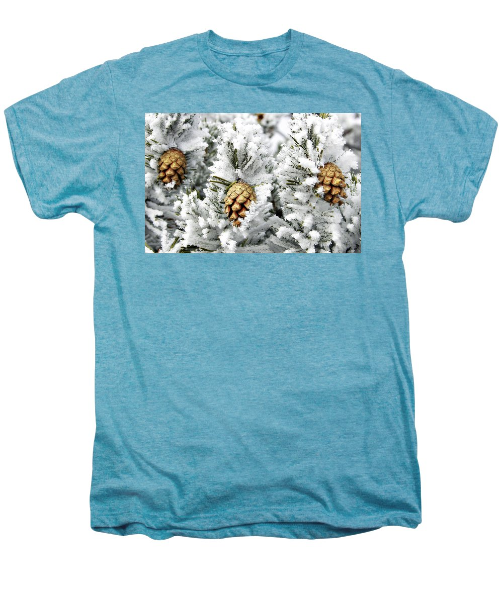 Frosty Men's Premium T-Shirt featuring the photograph Three Pinecones by Marilyn Hunt