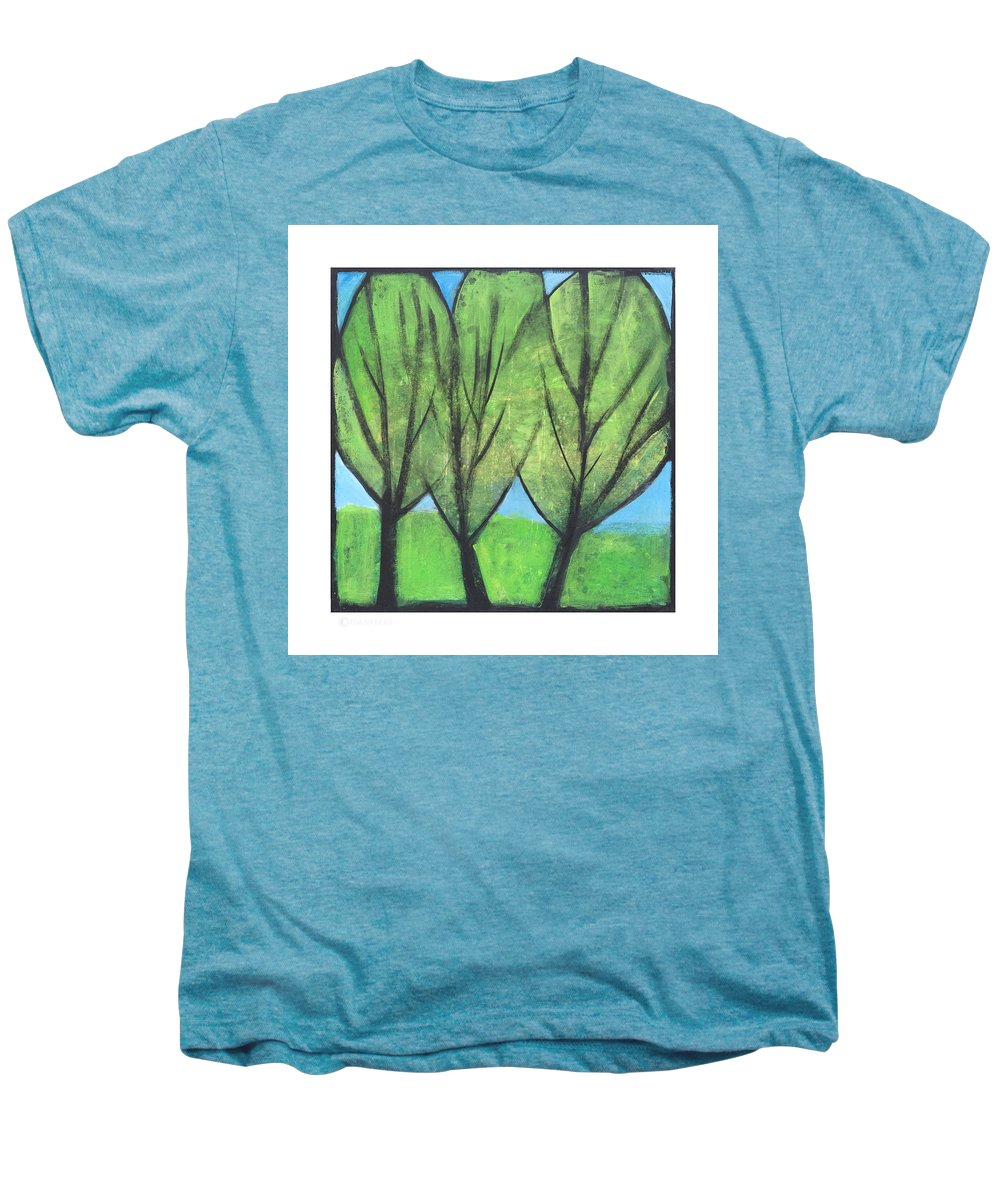 Trees Men's Premium T-Shirt featuring the painting Three Sisters by Tim Nyberg