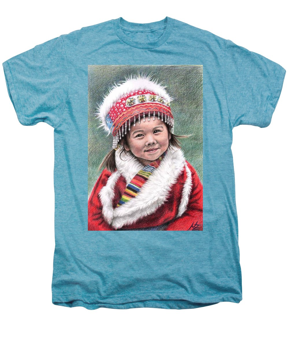 Girl Men's Premium T-Shirt featuring the drawing Tibetan Girl by Nicole Zeug