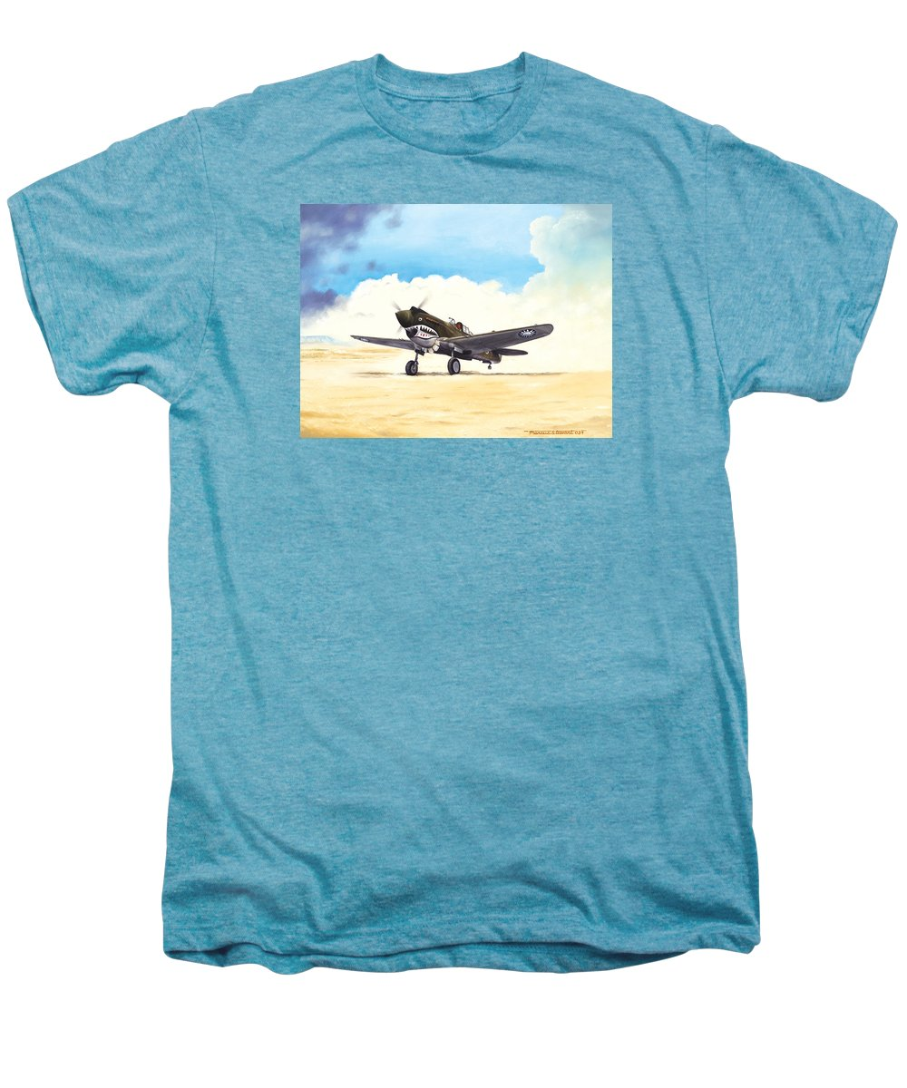 Aviation Men's Premium T-Shirt featuring the painting Tiger Scramble by Marc Stewart