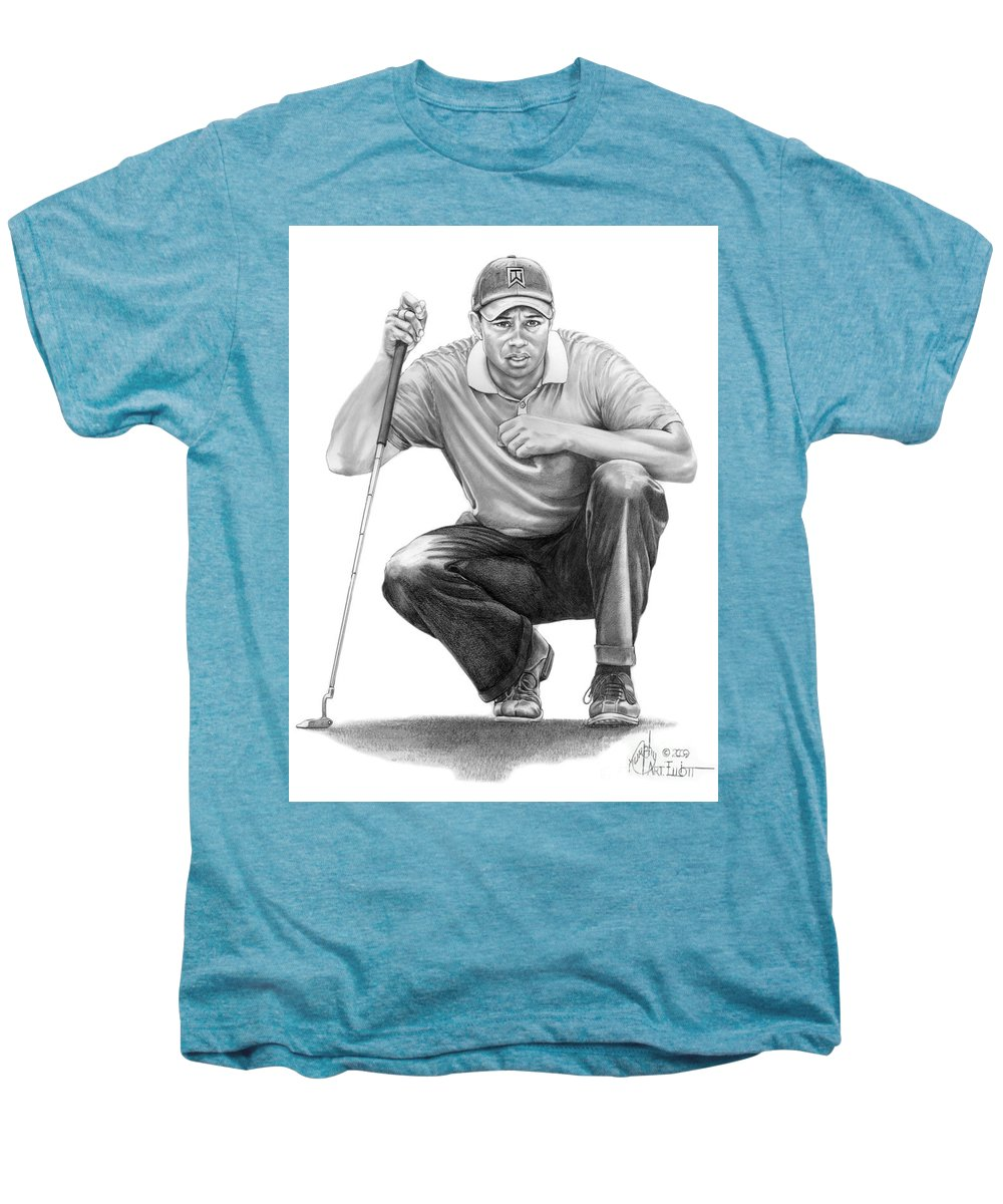 Pencil Men's Premium T-Shirt featuring the drawing Tiger Woods Crouching Tiger by Murphy Elliott