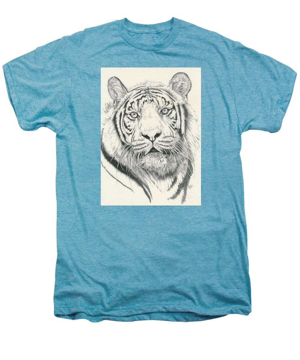 Tiger Men's Premium T-Shirt featuring the drawing Tigerlily by Barbara Keith