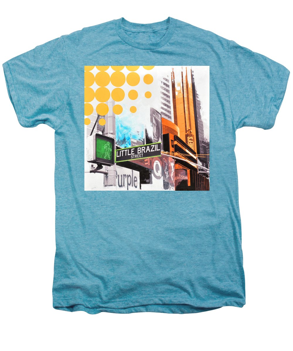 Ny Men's Premium T-Shirt featuring the painting Times Square Little Brazil by Jean Pierre Rousselet