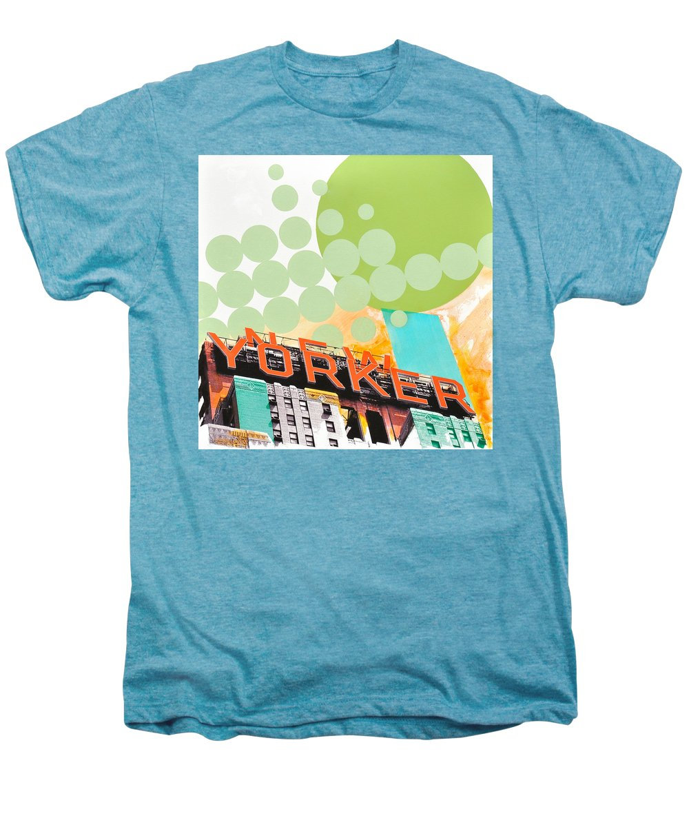 Ny Men's Premium T-Shirt featuring the painting Times Square New Yorker by Jean Pierre Rousselet