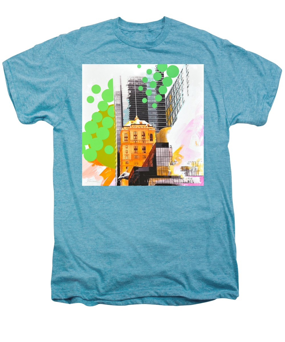 Ny Men's Premium T-Shirt featuring the painting Times Square Ny Advertise by Jean Pierre Rousselet