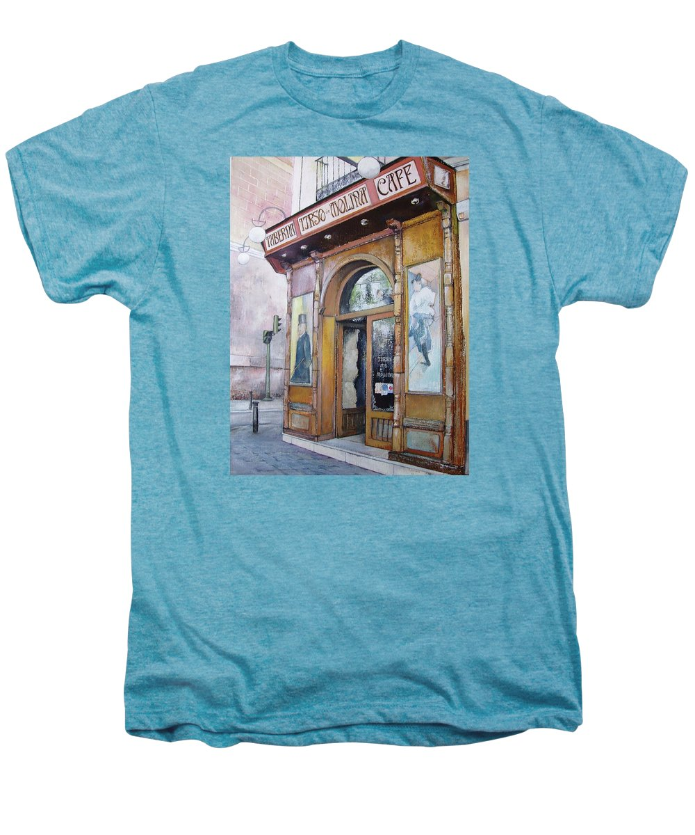 Tirso Men's Premium T-Shirt featuring the painting Tirso De Molina Old Tavern by Tomas Castano