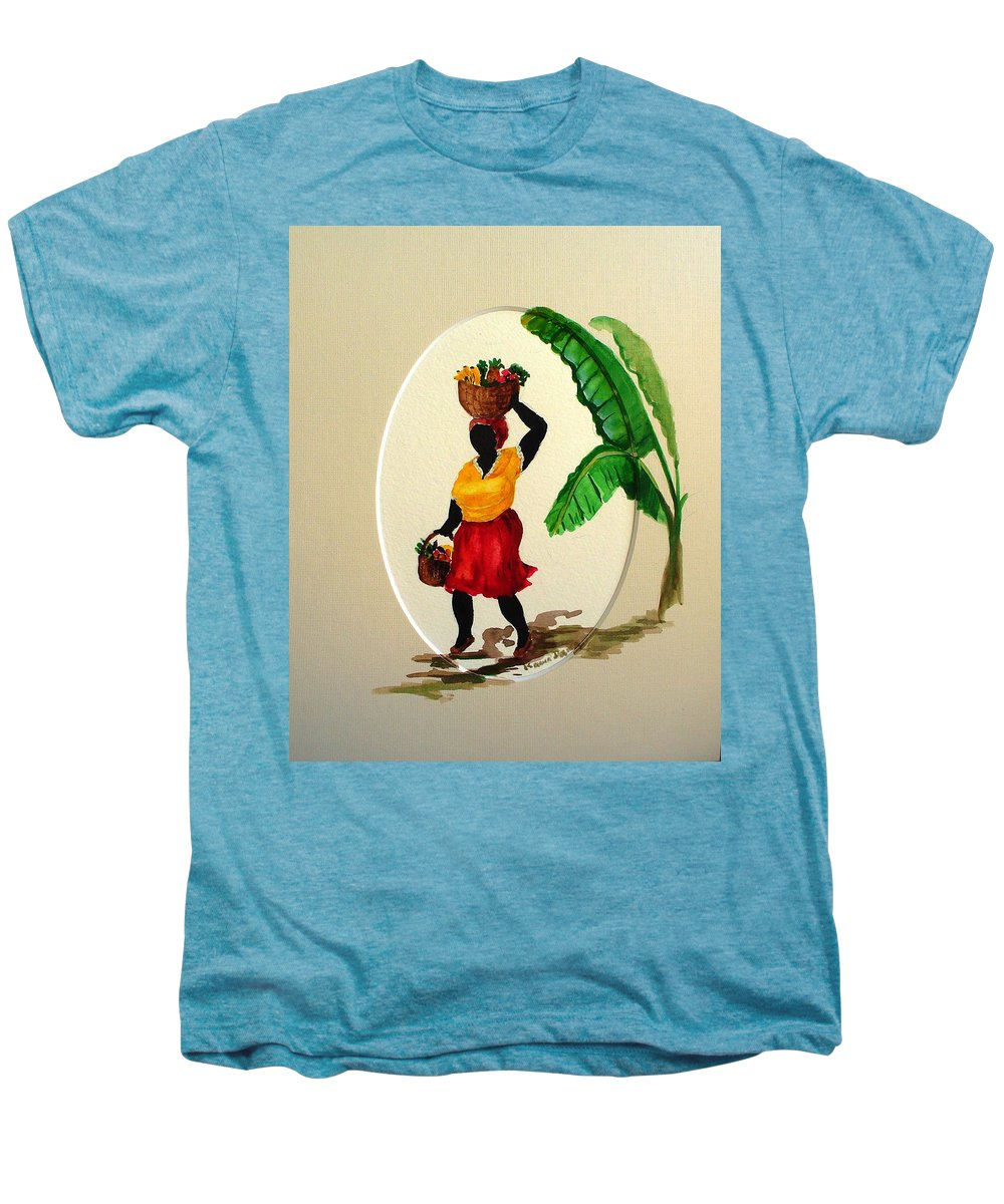 Caribbean Market Womanfruit & Veg Men's Premium T-Shirt featuring the painting To Market by Karin Dawn Kelshall- Best