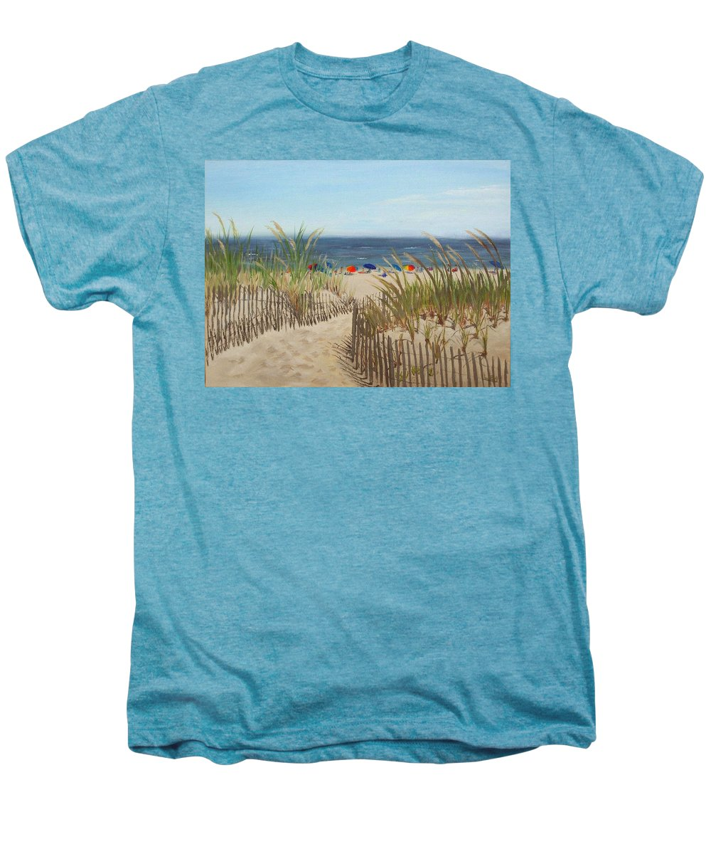 Beach Men's Premium T-Shirt featuring the painting To The Beach by Lea Novak