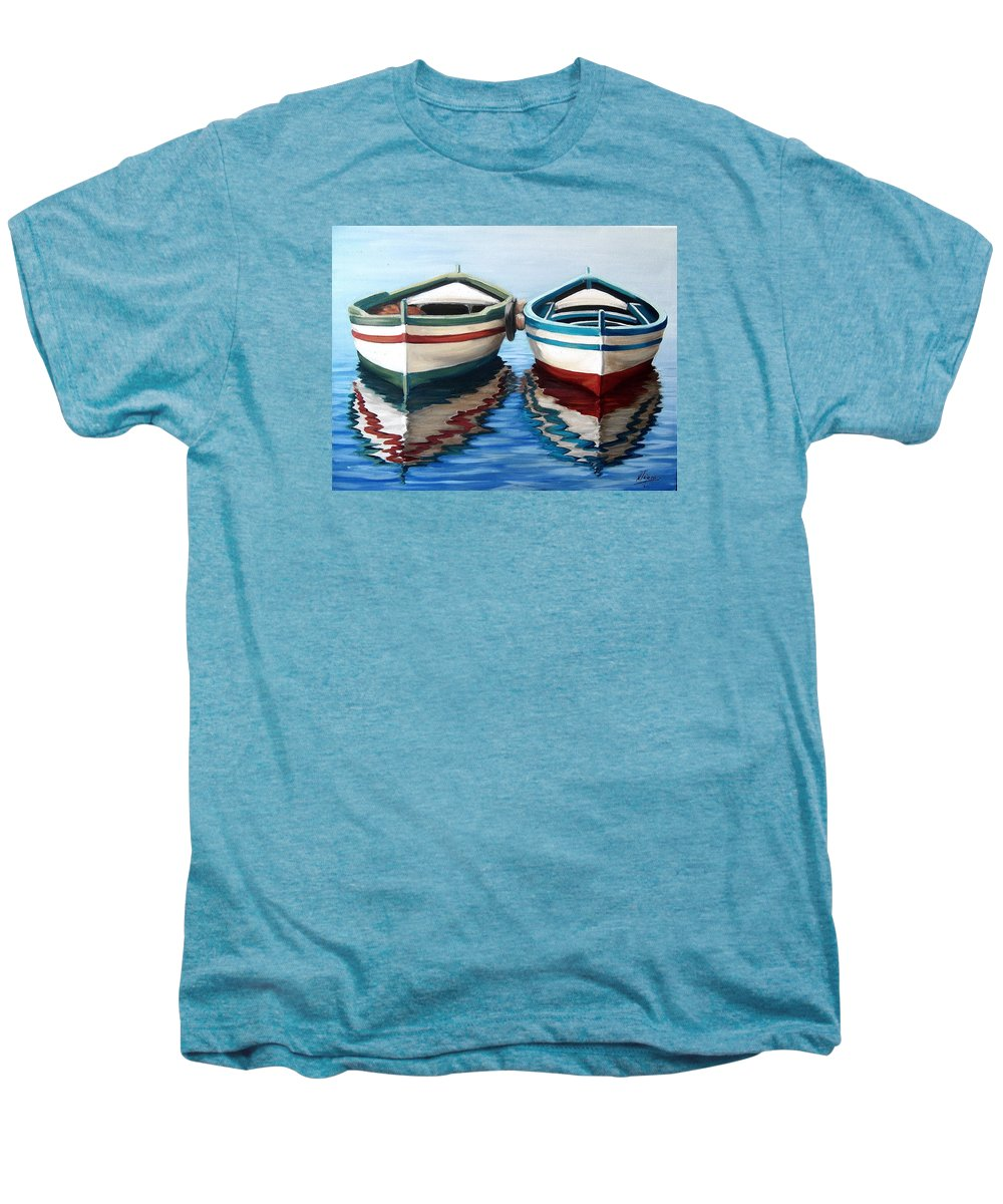 Seascape Sea Boat Reflection Water Ocean Men's Premium T-Shirt featuring the painting Together by Natalia Tejera